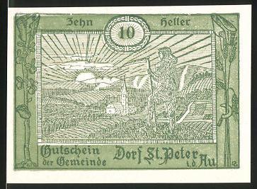 Notgeld St. Peter in der Au, 10 Heller, Ortsansicht mit Bauer