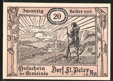 Notgeld St. Peter in der Au, 20 Heller, Ortsansicht mit Bauer