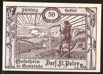 Notgeld St. Peter in der Au, 50 Heller, Ortsansicht mit Bauer