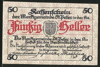 Notgeld St. Peter in der Au 1920, 50 Heller, Stadtwappen, Ortsmotiv