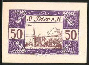 Notgeld St. Peter am Hart 1920, 50 Heller, St. Peterkirche