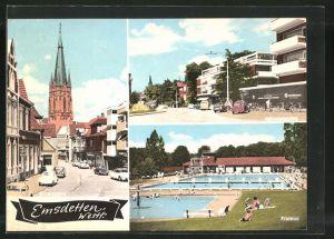 AK Emsdetten, Freibad, Münsterstrasse, Strassenpartie an der Kirche