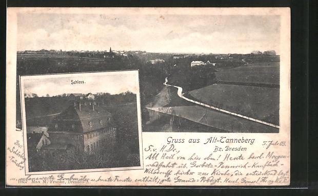 AK Tanneberg, Schloss aus der Vogelschau, Ortsansicht aus der Ferne