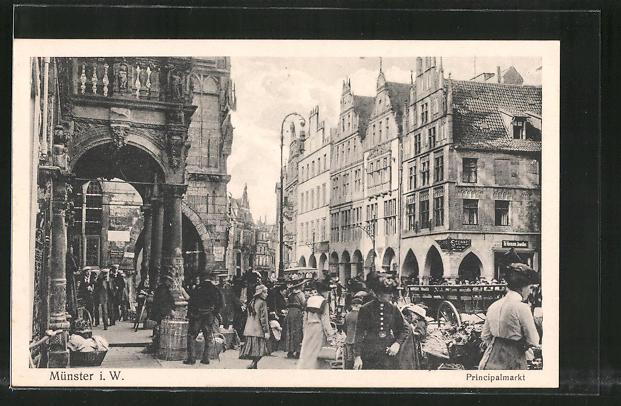AK Münster, Buntes Treiben auf dem Principalmarkt