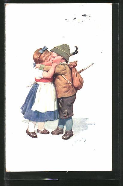 Künstler-AK Karl Feiertag: Knabe in Tracht küsst kleine Maid