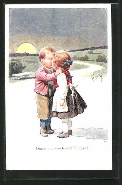 Künstler-AK Karl Feiertag: Durch und durch voll Süssigkeit, Kleines Paar beim Kuss