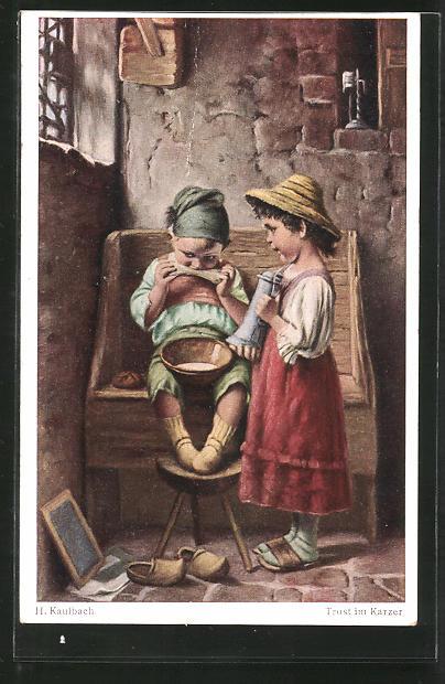 Künstler-AK Hermann Kaulbach: Trost im Karzer, Kinder