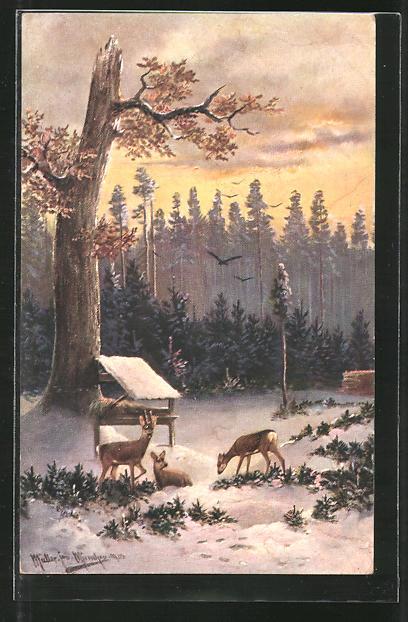 Künstler-Lithographie M. Müller jun.: Rehe an Futterstelle
