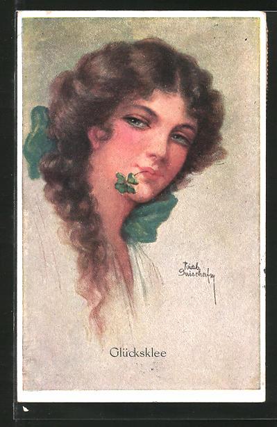 Künstler-AK Ruab Gnischaf: Frau mit vierblättrigen Kleeblatt im Mund