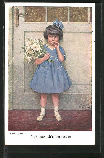 Künstler-AK Ruab Gnischaf: Kleines Mädchen mit blauem Kleid
