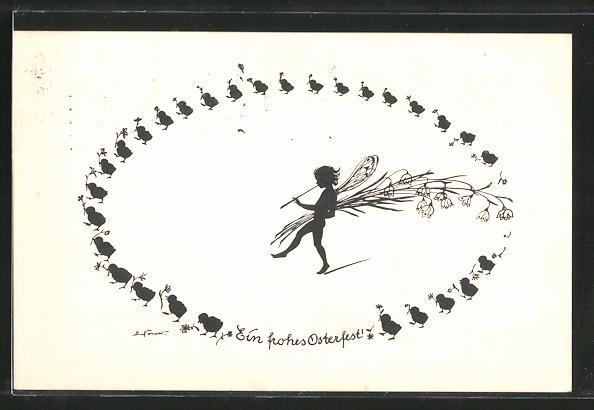 Künstler-AK Elsbeth Forck: Schattenbilder, Ein frohes Osterfest, Elfe und Küken