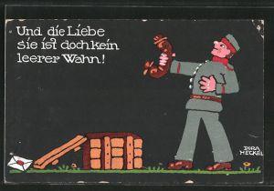 Künstler-AK Dora Heckel: Und die Liebe sie ist doch kein leerer Wahn!, Feldgrauer mit Wurst