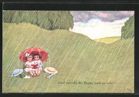 Künstler-AK Herschu: Und rauscht der Regen noch so sehr, Mädchen unter Regenschirm