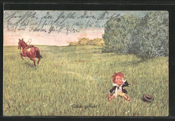 Künstler-AK Herschu: Glück gehabt!, Abgeworfener kleiner Reiter