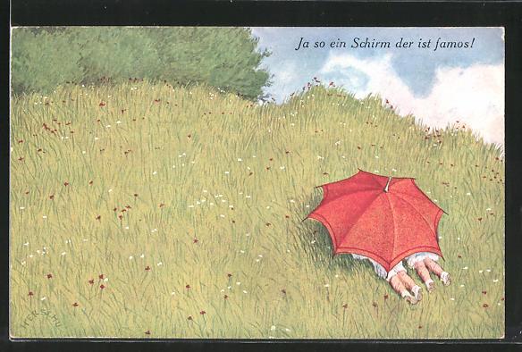 Künstler-AK Herschu: Ja so ein Schirm der ist famos!, Versteckte Kinder