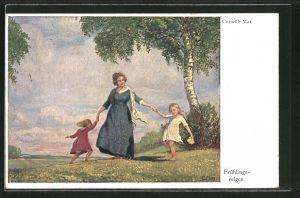 Künstler-AK Corneille Max: Mutter tanzt mit ihren Töchtern einen Frühlingsreigen