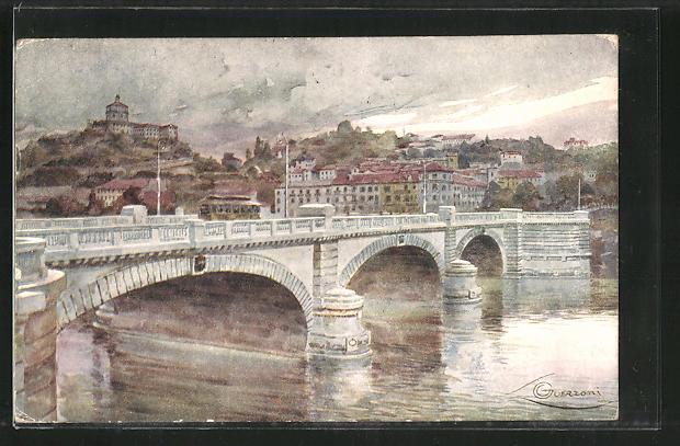 Künstler-AK G. Guerzoni: Torino, Ponte Nuovo Umberto I.