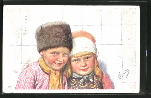 Künstler-AK Karl Feiertag: Kleines Holländer-Paar in Tracht