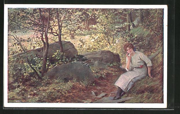 Künstler-AK Adolf Liebscher: Junge Frau im Wald in Erwartung ihres Liebsten