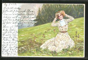 Künstler-AK Alfred Mailick: Mädchen mit Blumenkranz auf einer Wiese