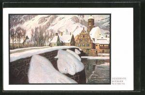 Künstler-AK Ernst Liebermann: Sonniger Wintertag, Verschneite Steinbrücke