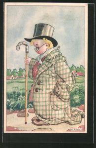 Künstler-AK Karel L. Links: Junge im viel zu grossen Anzug mit Spazierstock