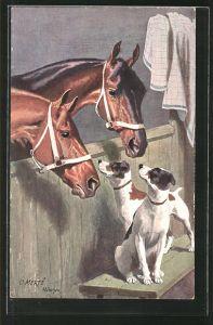 Künstler-AK O. Merte: Pferde und Terrier beschnuppern sich