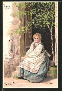 Künstler-AK Alfred Mailick: Frau sitzt vor der Tür