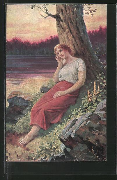 Künstler-AK Adolf Liebscher: Verlassene Frau an einem See