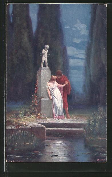 Künstler-AK Adolf Liebscher: Römisches Liebespaar an einer Amor-Statue