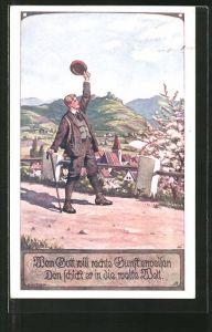 Künstler-AK Ernst Kutzer: Mann winkt zum Abschied mit seinem Hut