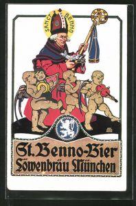 Künstler-AK Otto Obermeier: Reklame für St. Benno-Bier Löwenbräu München