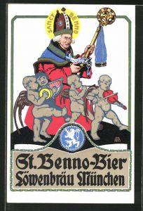Künstler-AK Otto Obermeier: Reklame für St. Benno-Bier der Löwenbräu-Brauerei München