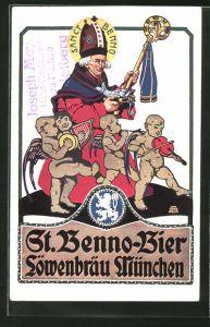 Künstler-AK Otto Obermeier: Reklame für Sanct Benno-Bier der Löwenbräu-Brauerei München