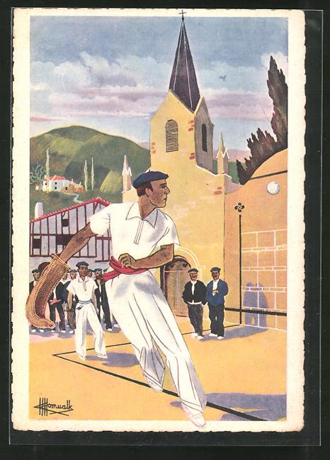 Künstler-AK Charles Homualk: En Parcourant le Pay Basque, Joueur de Pelote avec Chistera, Sportler