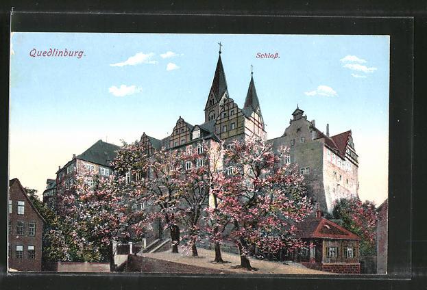 AK Quedlinburg, Blick zum Schloss 0