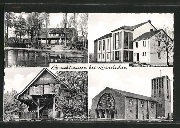 AK Bruckhausen, Am Mühlenteich, Kath.Kirche, Jugendheim