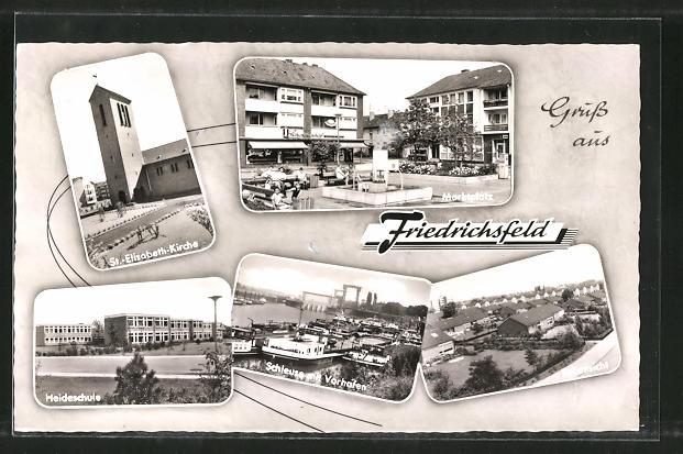 AK Friedrichsfeld, St. Elisabeth-Kirche, Marktplatz, Heideschule 0