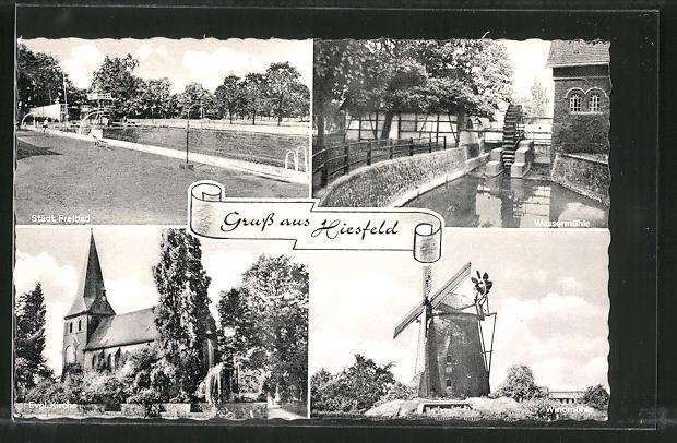 AK Hiesfeld, Städt. Freibad, Evang. Kirche, Windmühle 0