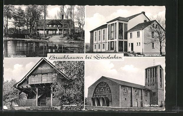 AK Bruckhausen, Am Mühlenteich, Jugendheim, Kath. Kirche