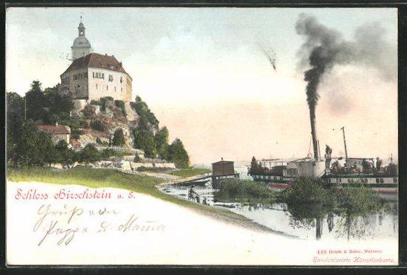 AK Hirschstein, Dampfer am Schloss 0