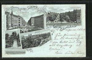 Mondschein-Lithographie Görlitz, Blick vom Bahnhof in die Berliner Strasse, Elisabeth Strasse