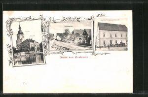 AK Knatewitz, Gasthof von K. Karnahl, Dorfstrasse, Kirche und Schule