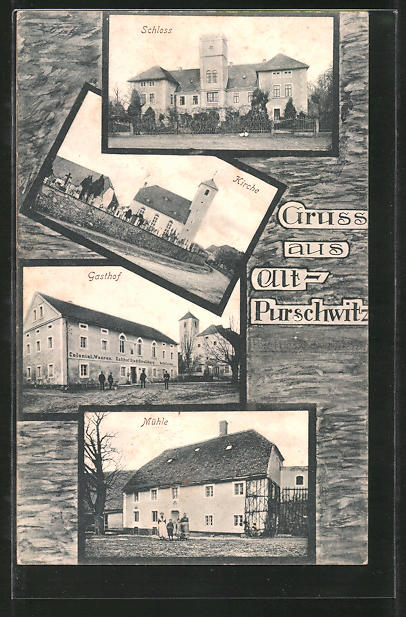 AK Purschwitz, Gasthaus, Schloss, Kirche, Mühle