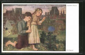 Künstler-AK Matthäus Schiestl: Kinder staunen über eine blaue Blume
