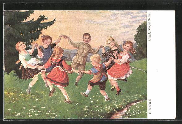 Künstler-AK Franziska Schenkel: Kinder tanzen Ringelreihen auf einer Wiese