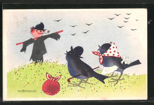 Künstler-AK Willy Schermele: Vogelpaar blickt auf eine Vogelscheuche