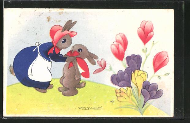 Künstler-AK Willy Schermele: Osterhasen-Mutter bindet ihrem Söhnchen eine Schleife