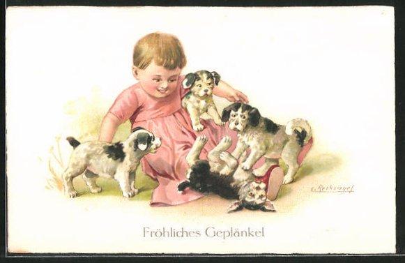 Künstler-AK E. Reckziegel: Kleinkind spielt mit Hundewelpen