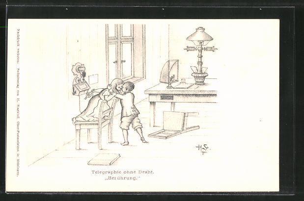 Künstler-AK H. Starkloff: Telegraphie ohne Draht, Kinder küssen sich